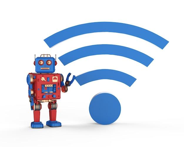 Robot renderujący 3d z niebieskim znakiem wi-fi na białym tle
