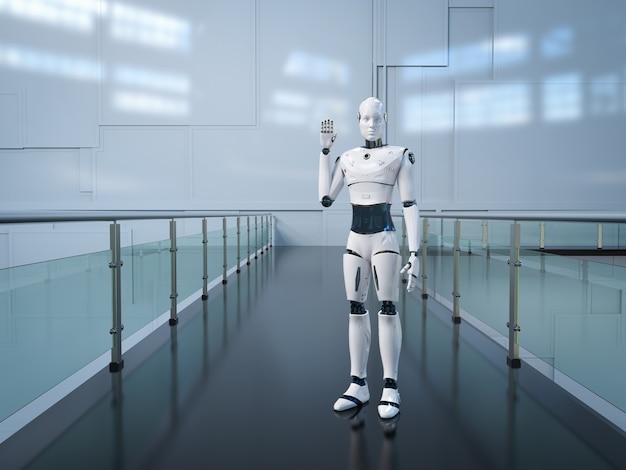 Robot sztucznej inteligencji lub cyborg podnoszą rękę na powitanie