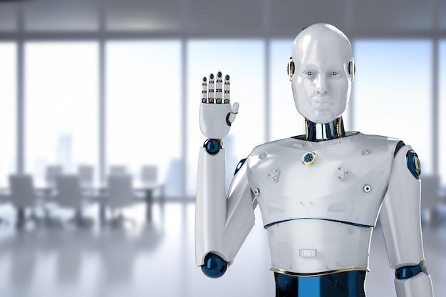 Robot sztucznej inteligencji lub ręka cyborga w biurze