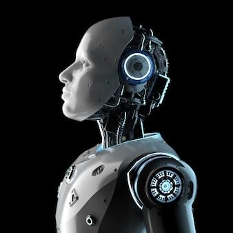 Robot sztucznej inteligencji renderujący 3d lub cyborg na białym tle na czarnym tle
