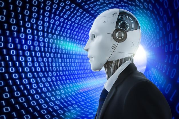 Robot sztucznej inteligencji renderujący 3d z binarnym tłem tunelowym