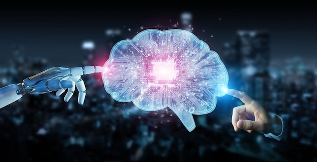 Robot tworzący sztuczną inteligencję w cyfrowym mózgu