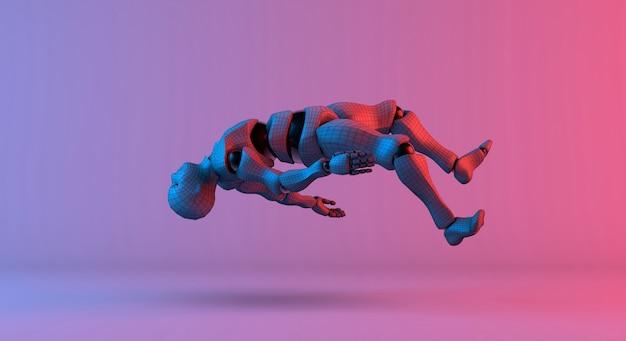 Robot wireframe unosi się na gradientowym czerwonym fiołkowym tle