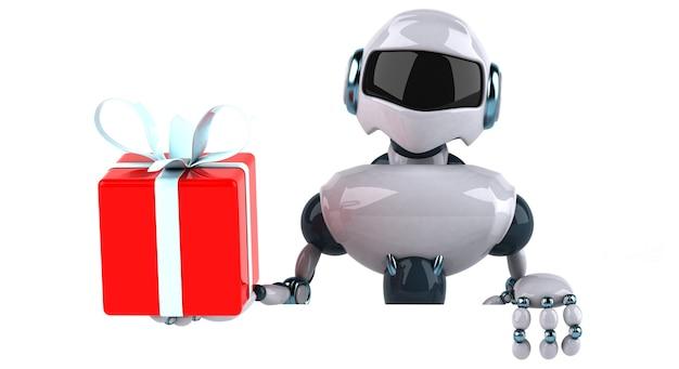 Robot z pudełkiem prezentowym