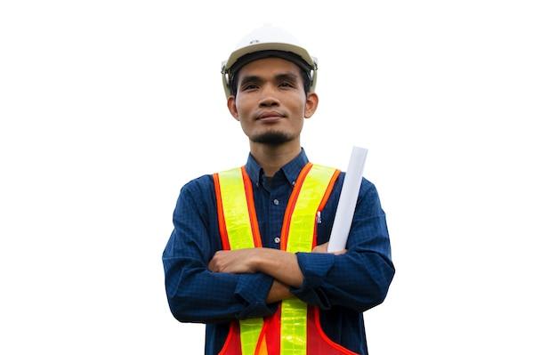 Robotnik inżynier inżynieria budowa architektury na białym tle