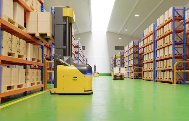Roboty agv wydajnie sortują setki paczek na godzinę (pojazd sterowany automatycznie). renderowanie 3d