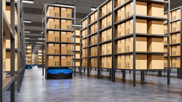 Roboty wydajnie sortujące setki paczek na godzinę (zautomatyzowany pojazd sterowany) rendering agv.3d