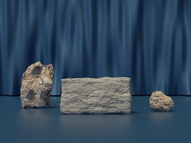 Rock kamień ustawić niebieską kurtynę sceny renderowania 3d