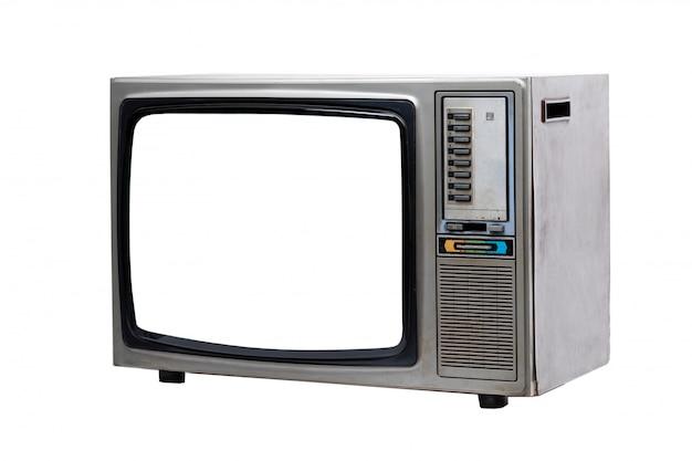 Rocznik tv z białym pustym ekranem odizolowywającym na bielu.