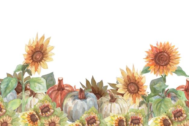 Rocznika dyni słoneczniki akwarela ręcznie rysowane ilustracja