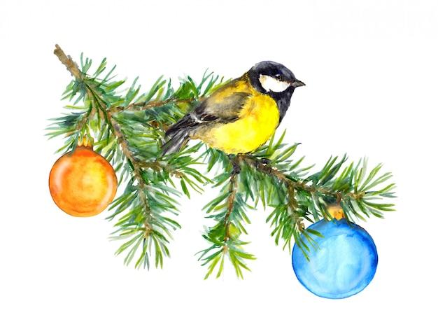Rocznika kartka z pozdrowieniami z tit i choinką, nowy rok
