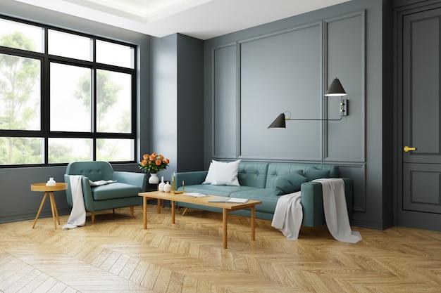 Rocznika nowożytny wnętrze żywy pokój, zielona kanapa z ścienną lampą na drewnianej podłoga