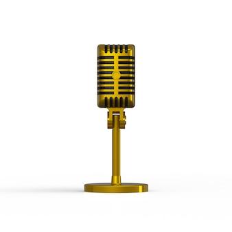 Rocznika złoty mikrofon odizolowywający na białym tle