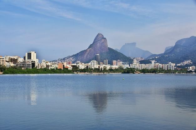 Rodrigo de freitas lagoon w rio de janeiro, brazylia