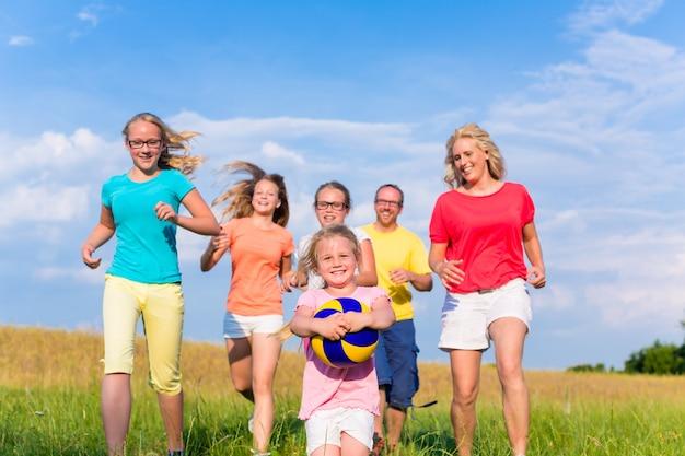 Rodzina bawić się balowe gry na łące