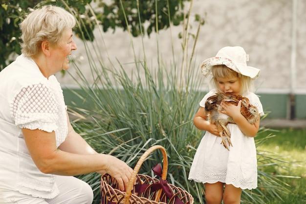 Rodzina na tylnym podwórku. wnuczka z babcią. ludzie z małym kurczakiem.