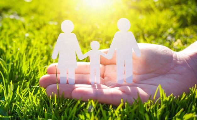 Rodzina papieru w ręku na tle zielonej trawie