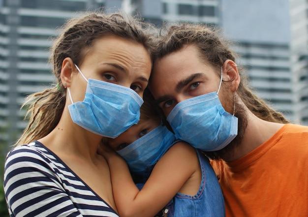 Rodzina w maskach ochronnych