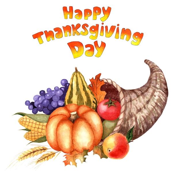 Róg obfitości i tekst wesołego dziękczynienia kosz warzyw i owoców na święta