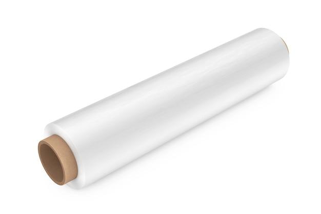Rolka białej folii do pakowania z tworzywa sztucznego przezroczysta folia stretch na białym tle. renderowanie 3d