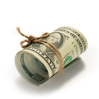 Rolka dolarów związana liną