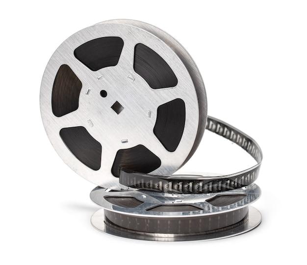 Rolka filmu z przezroczy na białym tle.