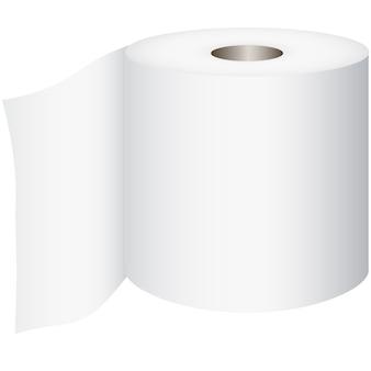 Rolka toaletowa, papier toaletowy na białym tle, wektor
