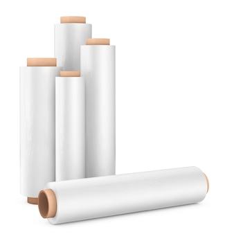 Rolki białej folii do pakowania z tworzywa sztucznego przezroczysta folia stretch na białym tle. renderowanie 3d