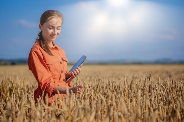 Rolnik badający roślinę na polu pszenicy w ręku trzyma szklaną rurkę zawierającą badaną substancję
