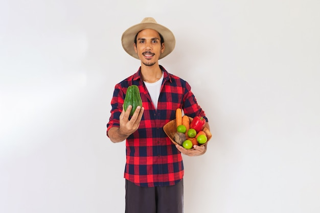 Rolnik czarny człowiek z kapeluszem i rękawiczkami, trzymając kosz warzyw (marchew, cytryna, pomidory, kolczoch i buraki) na białym tle w tle
