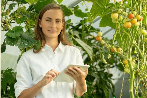 Rolnik w białej koszuli z cyfrowym tabletem w szklarni monitoruje wzrost pomidora...