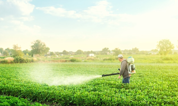 Rolnik z opryskiwaczem z dmuchawą przechadza się po plantacji ziemniaków