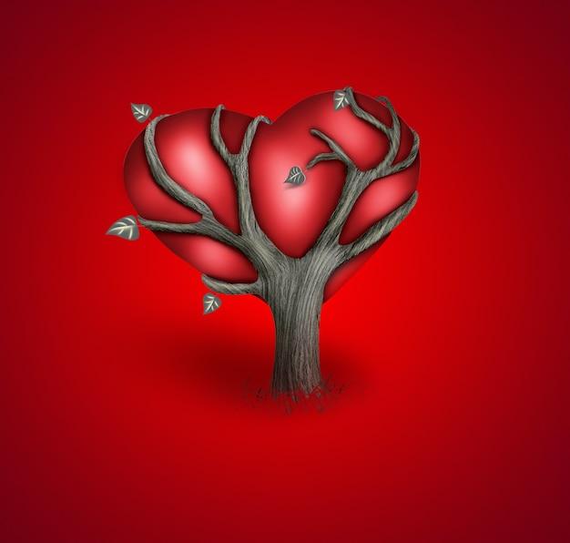 Romantyczna kartka z drzewem i czerwonym sercem