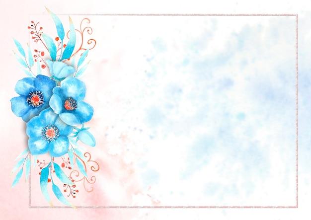 Romantyczna ramka z niebieskimi kwiatami ciemiernika, pąkami, liśćmi, ozdobnymi gałązkami na tle akwareli. ilustracja akwarela, ręcznie robione.