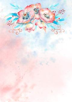 Romantyczna ramka z różowymi kwiatami ciemiernika, pąkami, liśćmi, ozdobnymi gałązkami na tle akwareli. ilustracja akwarela, ręcznie robione.