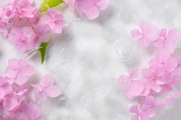 Romantyczny miękki i piękny wzór różowe kwiaty hortensji