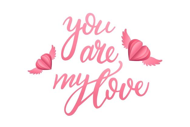 Romantyczny napis z latającymi sercami