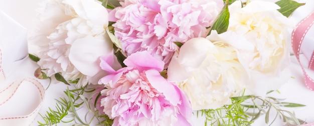 Romantyczny transparent, z bliska delikatne białe piwonie. pachnące różowe płatki, abstrakcyjne tło romantyczne, pastelowa i miękka karta kwiatowa