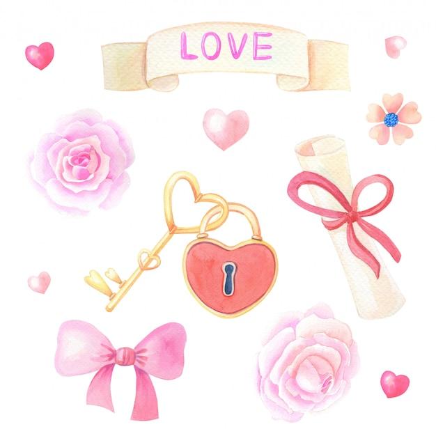 Romantyczny zestaw akwarela clipart na walentynki.