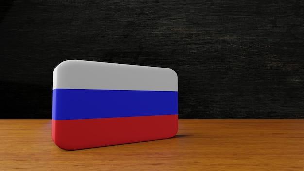 Rosja kwadratowa flaga renderowania 3d
