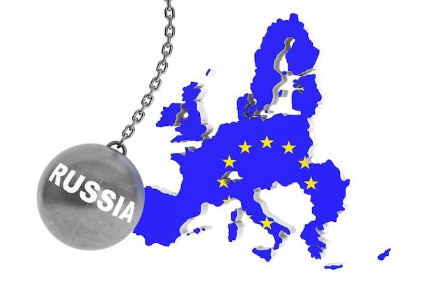 Rosja zniszczyć koncepcję europy. wrecking ball jako rosja z mapą europy na białym tle