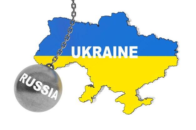 Rosja zniszczyć koncepcję ukrainy. wrecking ball jako rosja z mapą ukrainy na białym tle