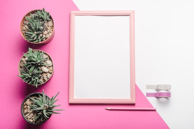 Roślina doniczkowa kaktus; biała pusta rama; ołówek i wstążki na tle biały i różowy