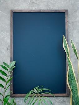 Roślina szklarniowa z monsteraaglaonemachiński evergreenficus elastica cętkowany betelzamioculcas zamifoliabird of paradisebromeliad i makieta czarnej tablicy na betonowej powierzchni ściany