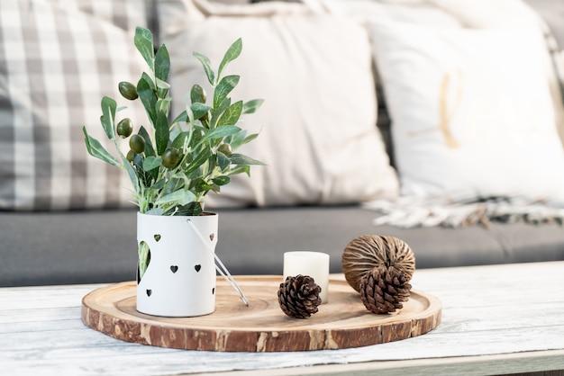 Roślina w dekoracji wazonu w salonie