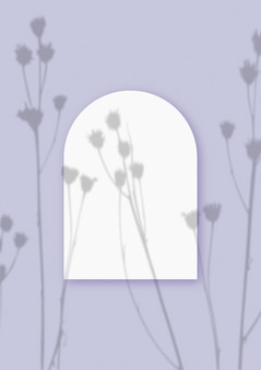 Roślinne cienie nałożone na arkusz w kształcie łuku z teksturowanego białego papieru na fioletowym tle stołu