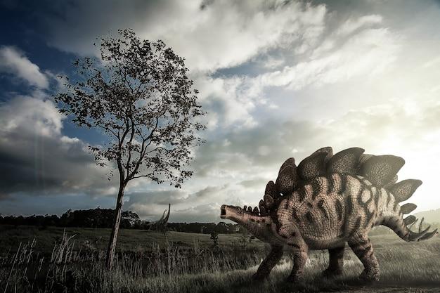 Roślinożerny dinozaur stegozaur żyjący w późnej jurze