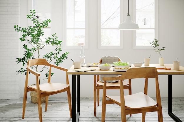 Rośliny i stół z drewna w białym domu