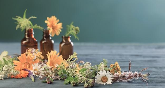 Rośliny lecznicze i brązowe butelki na niebieskim tle