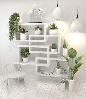Rośliny na półce o konstrukcji minimalistycznej.